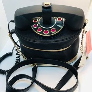 Betsey Johnson Black/Pink Telephone Handbag